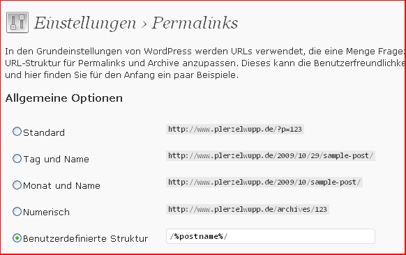 Wordpress Permlink Einstellung (Struktur)