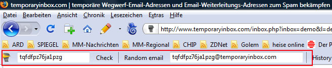 Die zusätzliche temporary-Inbox-Symbolleiste für Firefox lässt sich auch ausblenden