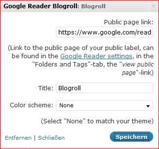 Screenshot Google-Reader Blogroll