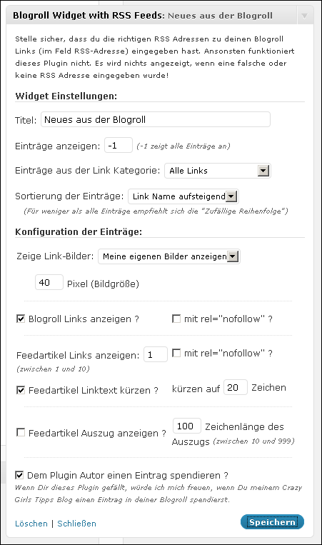 Blogroll-Widget-Einstellungen