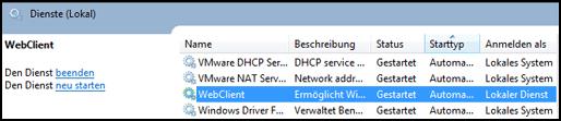WebDAV - Dienste kontrollieren