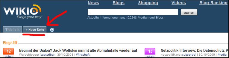 Wikio-Freunde - neue Seite nlegen