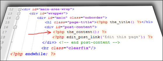 php the content