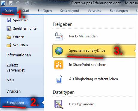 Bild5: Dokument aus Word auf SkyDrive hochladen