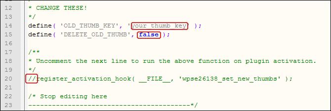 Code, der abgeändert werden muss